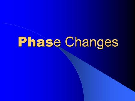 Phas e Changes. Solid to Liquid Melting Liquid SolidGas.