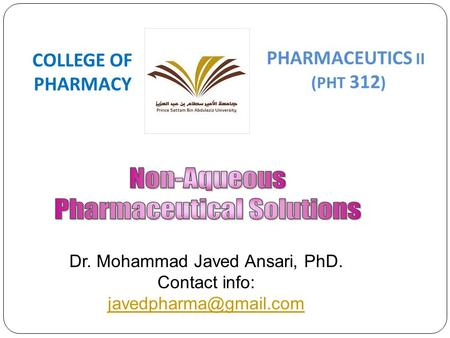 Dr. Mohammad Javed Ansari, PhD.