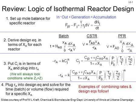 Review: Logic of Isothermal Reactor Design