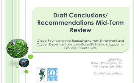 Draft Conclusions/ Recommendations Mid-Term Review Global Foundations for Reducing Nutrient Enrichment and Oxygen Depletion from Land-Based Pollution,