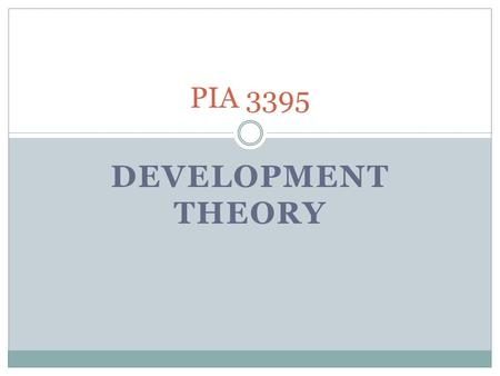 DEVELOPMENT THEORY PIA 3395. Question? The Role of Normative Theories in an Age of Emiricism.