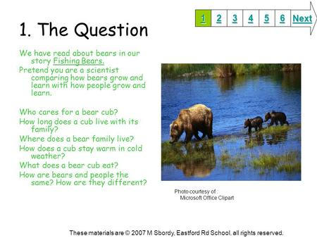 1. The Question We have read about bears in our story Fishing Bears. Pretend you are a scientist comparing how bears grow and learn with how people grow.
