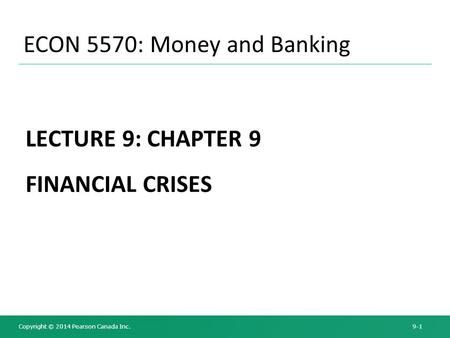 ECON 5570: Money and Banking