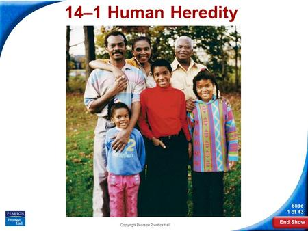 End Show Slide 1 of 43 Copyright Pearson Prentice Hall 14–1 Human Heredity 14-1 Human Heredity.