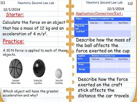 112 Newton's Second Law Lab 111 12/1/2014 Starter: 12/1/2014 Practice: A 10 N force is applied to each of these objects. Which object will have the greater.