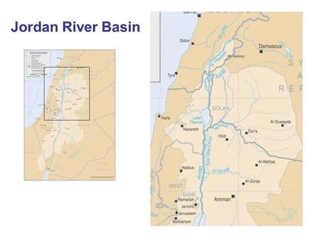 Jordan River Basin. Hydrology of the system Dan (Israel) Hasbani (Lebanon) Banias (Syria) Yarmuk (Syria) and Jordan Israel and West Bank Jordan Lake Tiberias.