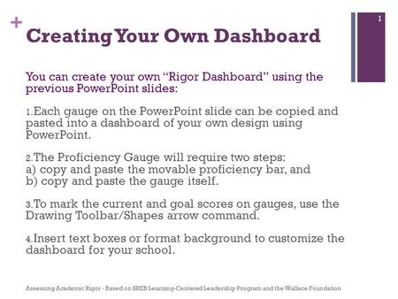 "+ Creating Your Own Dashboard You can create your own ""Rigor Dashboard"" using the previous PowerPoint slides: 1. Each gauge on the PowerPoint slide can."