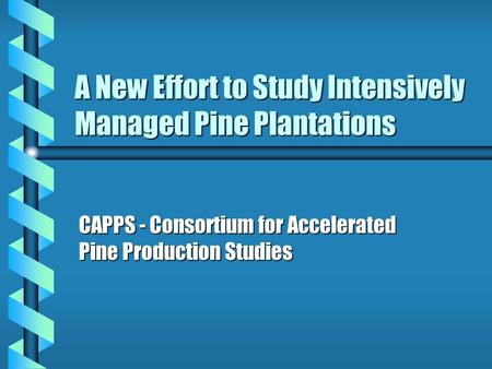 A New Effort to Study Intensively Managed Pine Plantations CAPPS - Consortium for Accelerated Pine Production Studies.