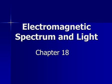 Electromagnetic Spectrum and Light Chapter 18. Electromagnetic Waves Transverse Waves Transverse Waves Consist of constantly changing fields Consist of.