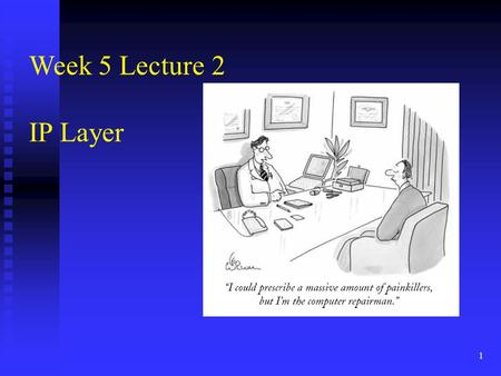 1 Week 5 Lecture 2 IP Layer. 2 Network layer functions transport packet from sending to receiving hosts transport packet from sending to receiving hosts.