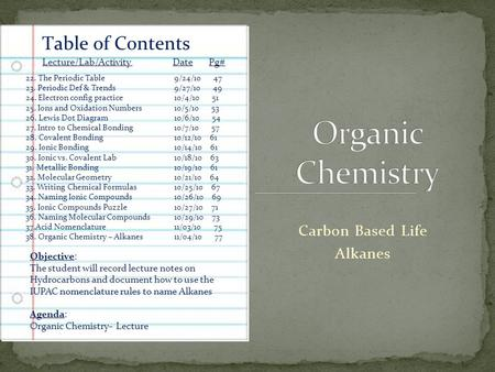 Carbon Based Life Alkanes Table of Contents Lecture/Lab/Activity Date Pg# 22. The Periodic Table9/24/10 47 23. Periodic Def & Trends9/27/10 49 24. Electron.