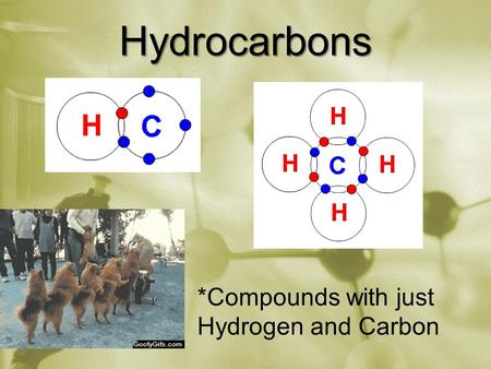 Hydrocarbons *Compounds with just Hydrogen and Carbon.