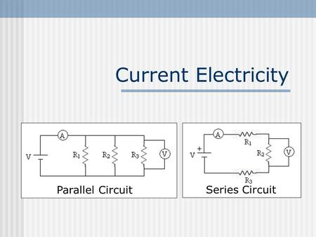 Current Electricity Parallel CircuitSeries Circuit.