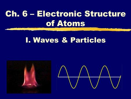 I. Waves & Particles Ch. 6 – Electronic Structure of Atoms.