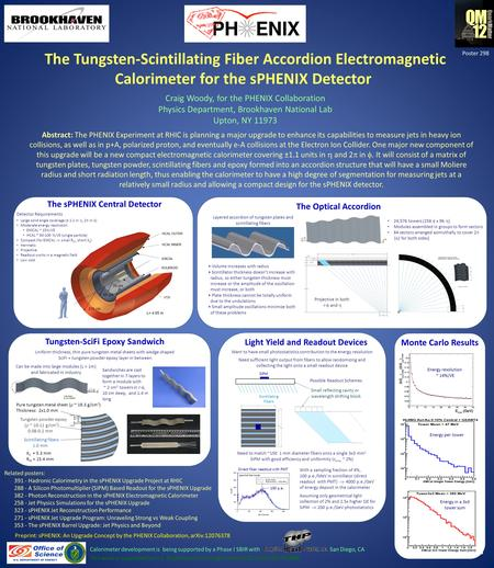 The Tungsten-Scintillating Fiber Accordion Electromagnetic Calorimeter for the sPHENIX Detector Craig Woody, for the PHENIX Collaboration Physics Department,