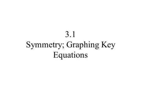 3.1 Symmetry; Graphing Key Equations. Symmetry A graph is said to be symmetric with respect to the x-axis if for every point (x,y) on the graph, the point.