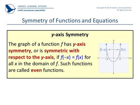 HAWKES LEARNING SYSTEMS math courseware specialists Copyright © 2012 Hawkes Learning Systems. All rights reserved. Symmetry of Functions and Equations.