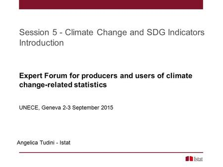 Session 5 - Climate Change and SDG Indicators Introduction Angelica Tudini - Istat Expert Forum for producers and users of climate change-related statistics.