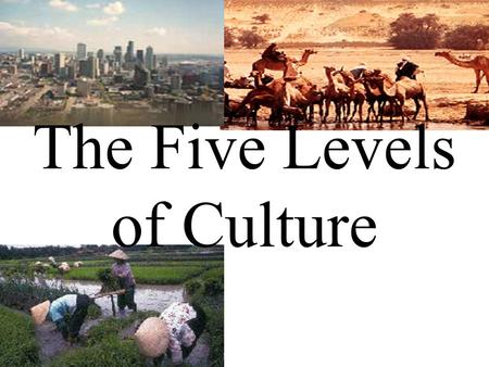 The Five Levels of Culture. The Nomadic Society What are our basic needs for survival?