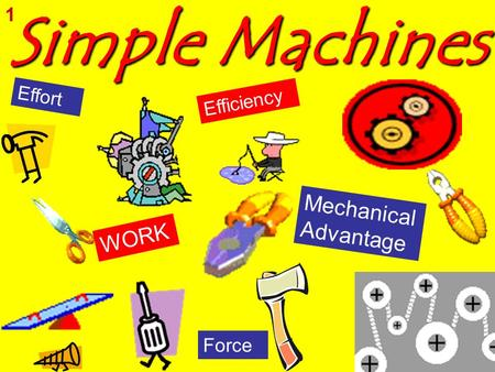 Simple Machines 1 Effort Efficiency Mechanical Advantage WORK Force.