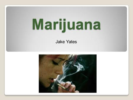 "Marijuana Jake Yates. Need to Know THC is the main toxin in Marijuana Marijuana is a ""tolerance"" drug. Over time heavy users need more of the drug to."