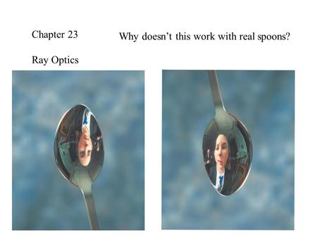 Chapter 23 Ray Optics Why doesn't this work with real spoons?