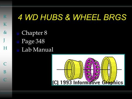 4 WD HUBS & WHEEL BRGS u Chapter 8 u Page 348 u Lab Manual RK&JHCBCRK&JHCBC.