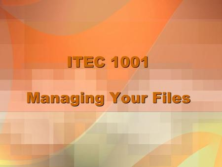 ITEC 1001 Managing Your Files. Tutorial Objectives Develop file management strategies Explore files and folders Create, name, copy, move, and delete folders.