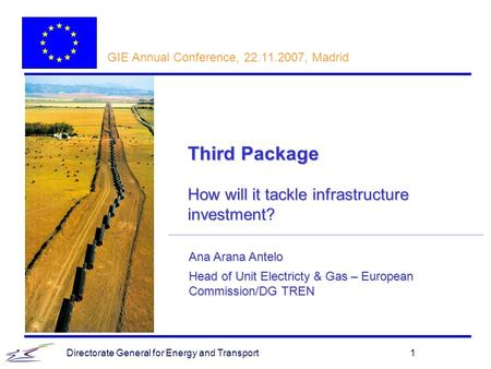 Directorate General for Energy and Transport1 Ana Arana Antelo Head of Unit Electricty & Gas – European Commission/DG TREN GIE Annual Conference, 22.11.2007,