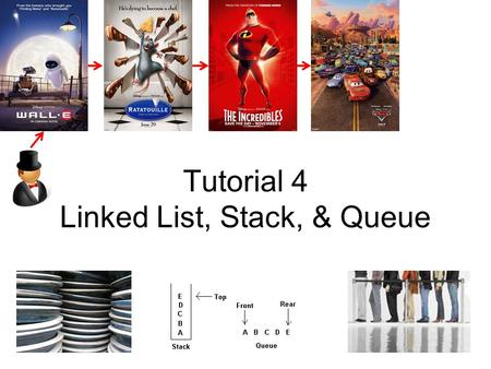 Tutorial 4 Linked List, Stack, & Queue. Linked List: Revision The concept of ADT List ADT List using Array –Pro & cons  Discussed in T02Q3 and today.