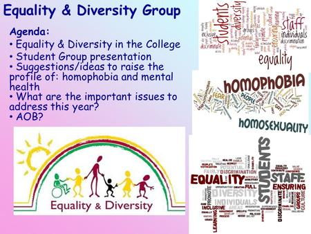 Equality & Diversity Group Agenda: Equality & Diversity in the College Student Group presentation Suggestions/ideas to raise the profile of: homophobia.