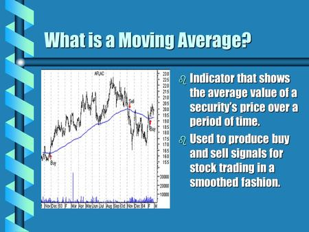 What is a Moving Average? b Indicator that shows the average value of a security's price over a period of time. b Used to produce buy and sell signals.