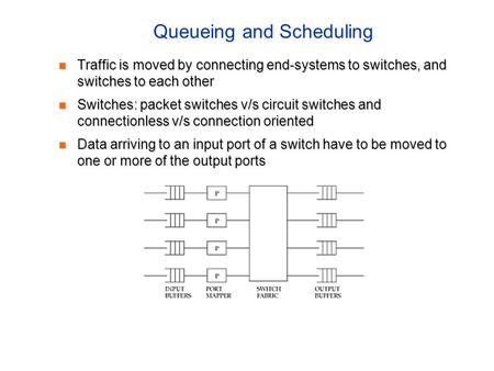 Queueing and Scheduling Traffic is moved by connecting end-systems to switches, and switches to each other Traffic is moved by connecting end-systems to.