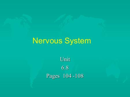 Nervous System Unit6.8 Pages 104 -108. Key Terms u autonomic nervous system u brain u central nervous system u cerebrum u diencephalon u hypothalamus.