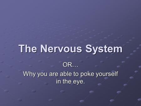 The Nervous System OR… Why you are able to poke yourself in the eye.