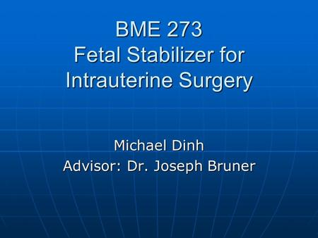 BME 273 Fetal Stabilizer for Intrauterine Surgery Michael Dinh Advisor: Dr. Joseph Bruner.