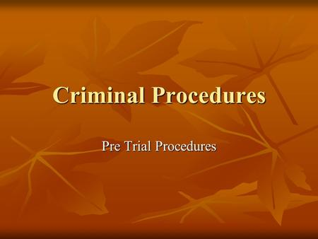 Criminal Procedures Pre Trial Procedures. Overview Criminal Seizure and Investigation Criminal Seizure and Investigation Arrest and Detention Arrest and.