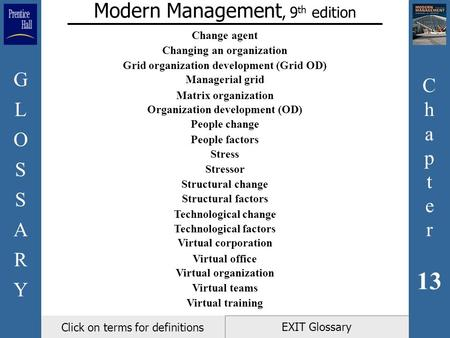 C h a p t e r 13 GLOSSARYGLOSSARY EXIT Glossary Modern Management, 9 th edition Click on terms for definitions Change agent Changing an organization Grid.