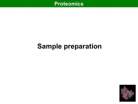 Sample preparation Proteomics. Three properties of proteins Size: molecular weight (utilized in 2-DE) Size: molecular weight (utilized in 2-DE) Charge: