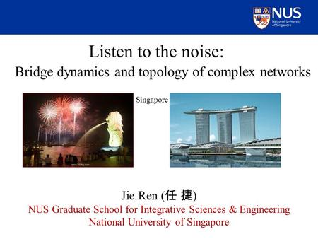 Listen to the noise: Bridge dynamics and topology of complex networks Jie Ren ( 任 捷 ) NUS Graduate School for Integrative Sciences & Engineering National.