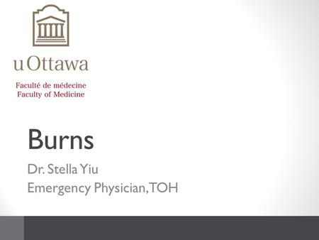 Burns Dr. Stella Yiu Emergency Physician, TOH. LMCC objectives Determine severity and extent Diagnose Complications Institute initial management of burn.