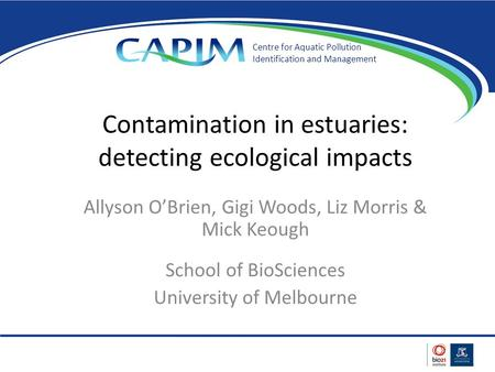 Contamination in estuaries: detecting ecological impacts Allyson O'Brien, Gigi Woods, Liz Morris & Mick Keough School of BioSciences University of Melbourne.