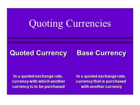 Quoting Currencies Base Currency In a quoted exchange rate, currency that is purchased with another currency Quoted Currency In a quoted exchange rate,