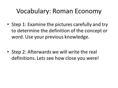 Vocabulary: Roman Economy