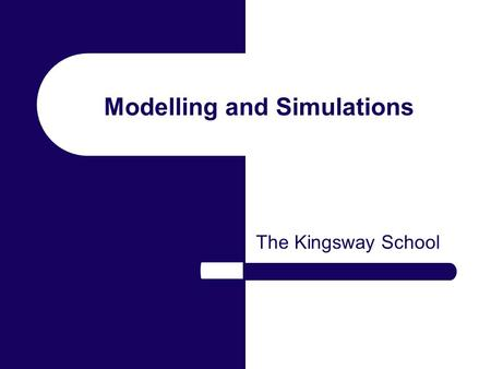 Modelling and Simulations The Kingsway School. What are Computer Models? When a real life situation is represented by computer software. Can you think.