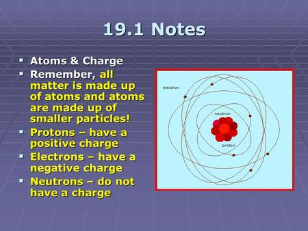 19.1 Notes  Atoms & Charge  Remember, all matter is made up of atoms and atoms are made up of smaller particles!  Protons – have a positive charge 