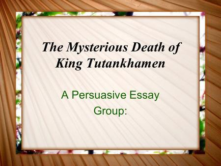 The Mysterious Death of King Tutankhamen A Persuasive Essay Group: