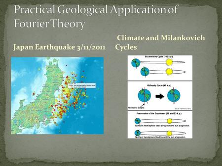 Japan Earthquake 3/11/2011 Climate and Milankovich Cycles.