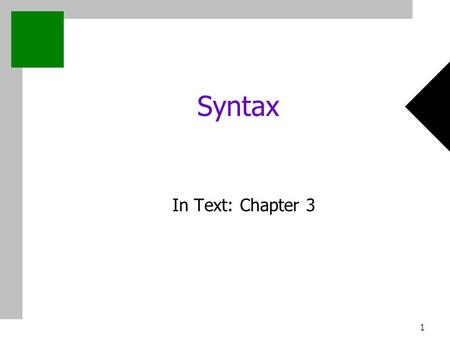 1 Syntax In Text: Chapter 3. 2 Chapter 3: Syntax and Semantics Outline Syntax: Recognizer vs. generator BNF EBNF.