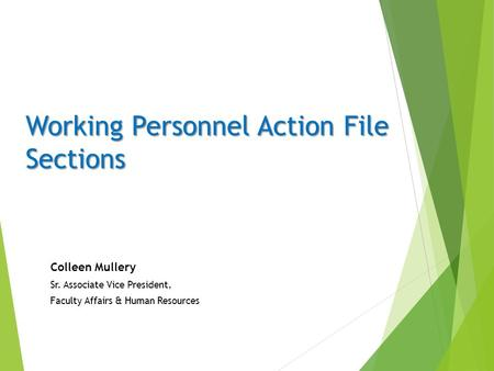 Working Personnel Action File Sections Colleen Mullery Sr. Associate Vice President, Faculty Affairs & Human Resources.